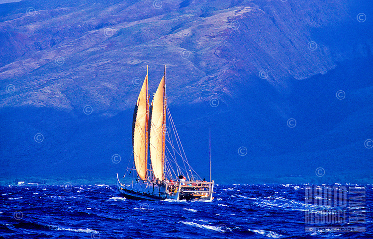 Hawaiian sailing canoe the Hokulea in the open waters of the Pacific ocean