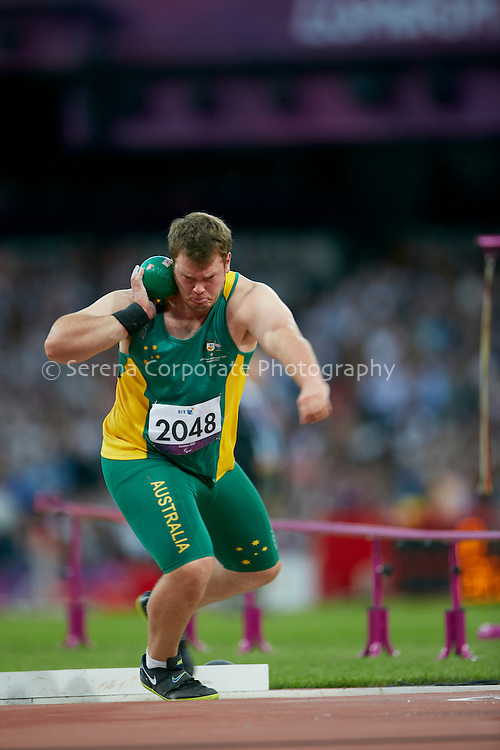 Lindsay Sutton of Australia competes in the men's F20 shot put, finishing eighth in the event overall..London Paralympic Games - Athletics 7.9.12