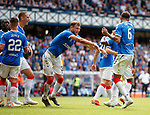 4.07.2019: Rangers v Marseille: Borna Barisic shoves Connor Goldson away froim Nikola Katic for a laugh after goal no 3