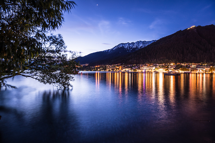 Nighttime photo of Queenstown Waterfront, Twilight, New Zealand - stock photo, canvas, fine art print