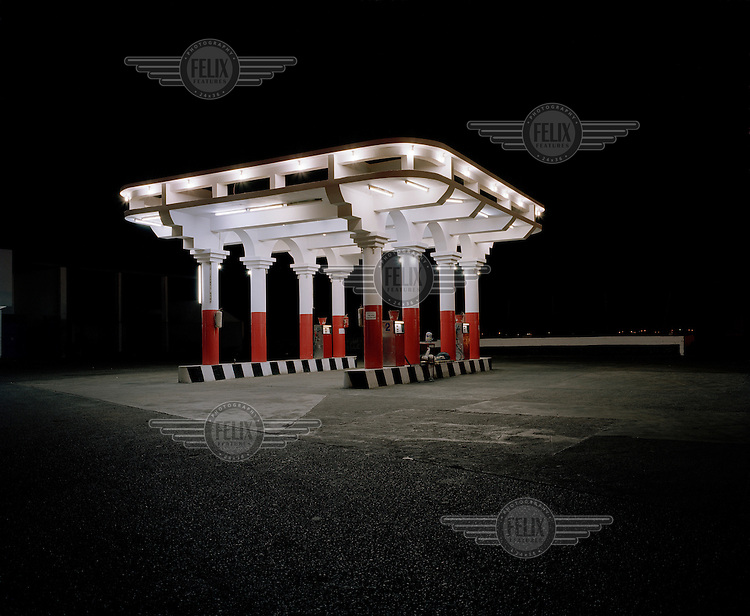 Petrol station at night..