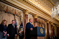 United States President Donald J. Trump speaks before Mike Pompeo, U.S. secretary of state, is sworn in, at the State Department, in Washington, D.C., U.S., on Wednesday, May 2, 2018. Next to Pompeo is his wife, Susan Pompeo. <br /> Credit: Al Drago / Pool via CNP /MediaPunch