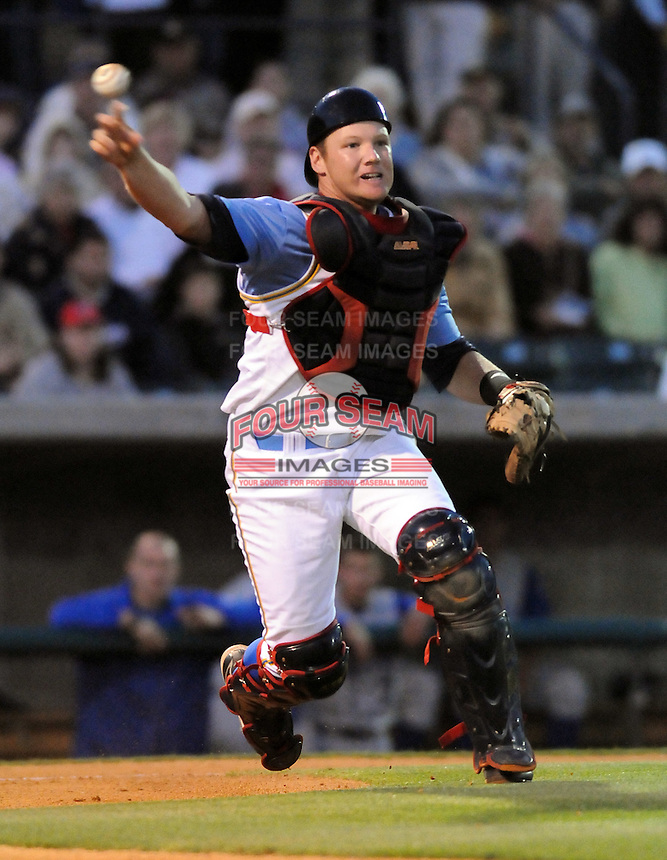 April 9, 2009: Catcher Matt Kennelly (19) of the Myrtle Beach Pelicans, Class A affiliate of the Atlanta Braves, throws out a runner on 2009 opening day at BB&T Coastal Field in Myrtle Beach, S.C. Photo by:  Tom Priddy/Four Seam Images