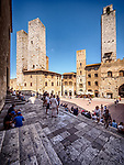 Piazza Duomo di San Gimignano and towers, San Gimignano, Siena-Tuscano, Italy