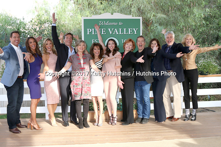 "LOS ANGELES - JAN 5:  Mark Steines, Eva LaRue, Debbie Matenopoulos, Peter Bergman Taylor Miller, Susan Lucci, Eden Riegel, Kathleen Noone, Laurence Lau, Kim Delaney, Michael E Knight, Jill Larson at the ""All My Children"" Reunion on ""Home and Family"" Show at Universal Studios on January 5, 2017 in Los Angeles, CA"