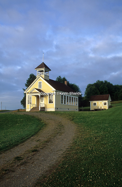 The restored James School in Preque Isle, Maine, USA