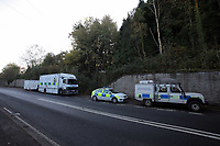 Pictured: South Wales Police officers at the scene where the body of 15 year old Rebecca Aylward was discovered in woods in Aberkenfig near Bridgend south Wales in October 2010. STOCK PICTURE<br />
