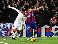 Burnley's Georges-Kevin Nkoudou battles with Crystal Palace's Luka Milivojevic<br /> <br /> Photographer Ashley Crowden/CameraSport<br /> <br /> The Premier League - Crystal Palace v Burnley - Saturday 13th January 2018 - Selhurst Park - London<br /> <br /> World Copyright &copy; 2018 CameraSport. All rights reserved. 43 Linden Ave. Countesthorpe. Leicester. England. LE8 5PG - Tel: +44 (0) 116 277 4147 - admin@camerasport.com - www.camerasport.com