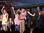 Betsy Wolfe, Victoria Collett, Caitlin Houlahan, David Josefsberg and Jason Mraz take a bow at the curtain call of Broadway's 'Waitress' at The Brooks Atkinson Theatre on November 3, 2017 in New York City.