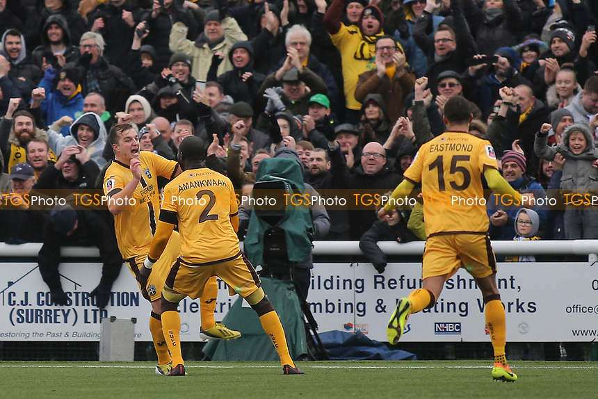 Jamie Collins celebrates scoring Sutton's opening goal during Sutton United  vs Leeds United, Emirates FA Cup Football at the Borough Sports Ground on 29th January 2017