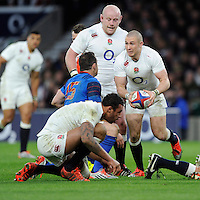 Mike Brown of England looks for support