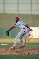 Clearwater Threshers pitcher Oscar Marcelino (39) during a Florida State League game against the Palm Beach Cardinals on August 10, 2019 at Roger Dean Chevrolet Stadium in Jupiter, Florida.  Clearwater defeated Palm Beach 11-4.  (Mike Janes/Four Seam Images)