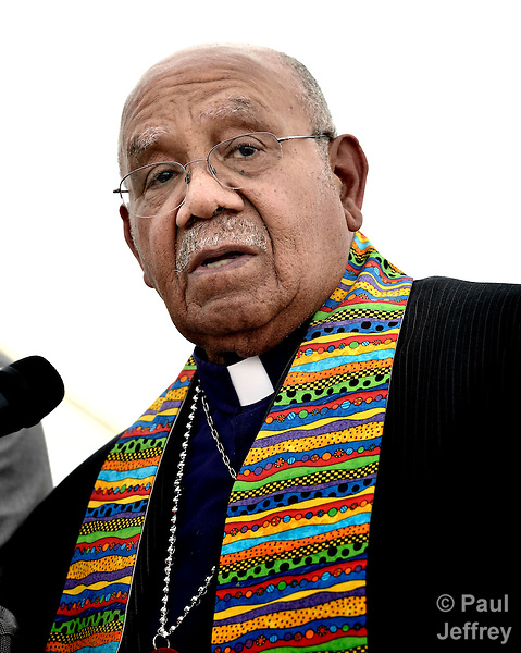 Bishop Melvin Talbert joined 13 other United Methodist bishops at a gathering on May 4 outside the 2012 United Methodist General Conference in Tampa, Florida, where they showed their support for clergy in the denomination who choose to officiate at religious weddings of same-sex couples. Doing so is a violation of church rules, but Talbert said he preferred Biblical obedience even if it meant ecclesiasical disobedience.