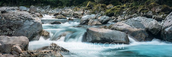 Pristine Hollyford River with boulders, Fiordland National Park, Southland, UNESCO World Heritage Area, New Zealand, NZ