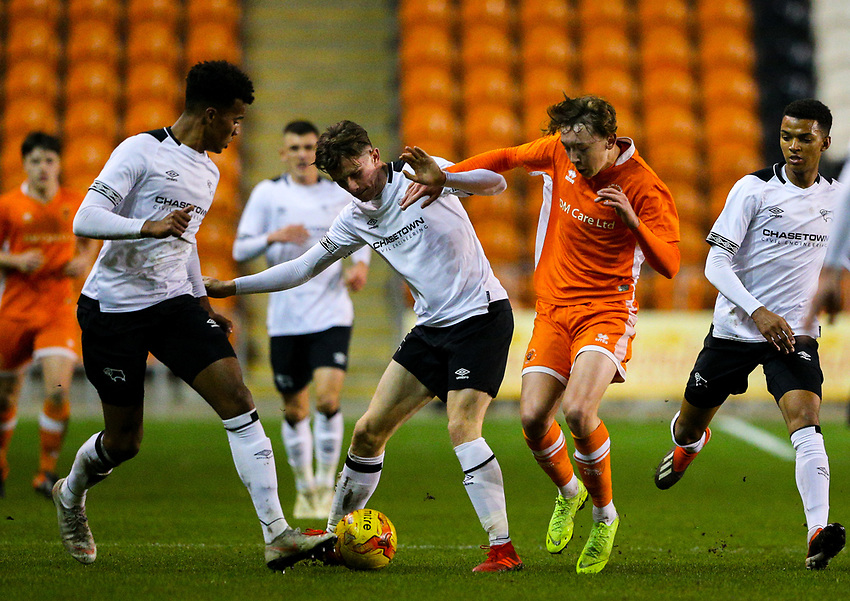 Blackpool's Nathan Shaw vies for possession with Derby County's Max Bird<br /> <br /> Photographer Alex Dodd/CameraSport<br /> <br /> The FA Youth Cup Third Round - Blackpool U18 v Derby County U18 - Tuesday 4th December 2018 - Bloomfield Road - Blackpool<br />  <br /> World Copyright © 2018 CameraSport. All rights reserved. 43 Linden Ave. Countesthorpe. Leicester. England. LE8 5PG - Tel: +44 (0) 116 277 4147 - admin@camerasport.com - www.camerasport.com