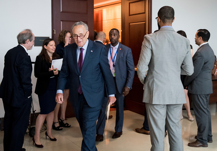 UNITED STATES - JULY 31: Senate Minority Leader Chuck Schumer, D-N.Y., leaves after speaking at the Senate Democrats' 3D downloadable guns news conference in the Capitol on Tuesday, July 31, 2018. (Photo By Bill Clark/CQ Roll Call)