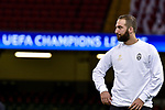 Gonzalo Higuain of Juventus during the training session ahead the UEFA Champions League Final between Real Madrid and Juventus at the National Stadium of Wales, Cardiff, Wales on 2 June 2017. Photo by Giuseppe Maffia.<br /> <br /> Giuseppe Maffia/UK Sports Pics Ltd/Alterphotos