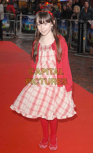 "MOLLY CONLIN .At ""The Secret Of Moonacre"" UK Film Premiere, Vue West End, London, England, January 25th 2009..full length  red gingham checked plaid dress tights cardigan shoes child hair band hair band headband .CAP/DS.©Dudley Smith/Capital Pictures"