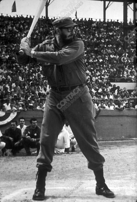 Archive Photo of Fidel Castro, President of Cuba,  playing baseball in 1959.<br />