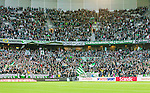 Stockholm 2014-04-14 Fotboll Superettan Hammarby IF - Degerfors IF :  <br /> Hammarby supportrar i kurvan i nordv&auml;stra h&ouml;rnet av Tele2 Arena<br /> (Foto: Kenta J&ouml;nsson) Nyckelord:  HIF Bajen Degerfors  supporter fans publik supporters