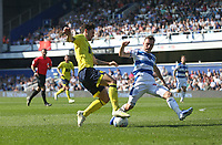 Blackburn Rovers' Lewis Travis is brought down by Queens Park Rangers' Josh Scowen to earn his side a first half penalty<br /> <br /> Photographer Rob Newell/CameraSport<br /> <br /> The EFL Sky Bet Championship - Queens Park Rangers v Blackburn Rovers - Friday 19th April 2019 - Loftus Road - London<br /> <br /> World Copyright © 2019 CameraSport. All rights reserved. 43 Linden Ave. Countesthorpe. Leicester. England. LE8 5PG - Tel: +44 (0) 116 277 4147 - admin@camerasport.com - www.camerasport.com