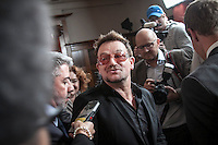 The pop singer BONO attends the press conference held at the Oslo Forum in Losby Gods during the visit of the Burmese pro-democracy leader AUNG SAN SUU KYI.  Bono and the norwegian Foreign Minister Jonas Gahr Støre meet Suu Kyi to attend the plenary during the forth and last day of her visit in Norway. Suu Kyi holds her first official diplomatic tour in Europe after 15 years in house arrest in Myanmar. She visits Switzerland, Norway, Ireland, Britain and France from June 13 to June 29 2012.