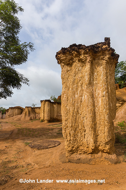 """Phae Muang Phi Mushroom Tower - Phae Muang Phi is famous for its sandstone formations though Its name means """"city of ghosts"""".  Erosion has produced  unusual rock formations that resemble giant mushrooms and pillars. <br /> Phae Muang Phi is thought of as Thailand's Grand Canyon"""