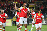 BOGOTA -COLOMBIA, 15-06-2017.Liana Salazar  player of Independiente Santa Fe womens celebrates his goal with his  parnerts agaisnt of Atletico Bucaramanga womens  during match for semifinals Women´s  Aguila League I 2017 played at Nemesio Camacho El Campin stadium . Photo:VizzorImage / Felipe Caicedo  / Staff