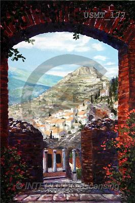 Malenda, LANDSCAPES, paintings, teatrogrecosicily(USMT177,#L#) Landschaften, Schiffe, paisajes, barcos, llustrations, pinturas