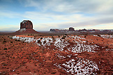 USA; Arizona; Monument Valley, Navajo Tribal Park, The East Mitten, Merrick Butte and Elephant Butte