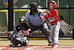 WATERBURY, CT-0712017JS15--Wolcott's Mike Landrigan (8) takes a swing during their Roberto Clemente World Series game  against Puerto Rico Thursday at Municipal Stadium in Waterbury. <br /> Jim Shannon Republican-American