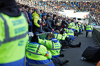 Security staff in front of Cardiff fans during the Sky Bet Championship match between Cardiff City and Swansea City at the Cardiff City Stadium, Cardiff, Wales, UK. Sunday 12 January 2020