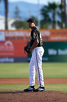 San Jose Giants starting pitcher Aaron Phillips (45) during a California League game against the Visalia Rawhide on April 13, 2019 at San Jose Municipal Stadium in San Jose, California. Visalia defeated San Jose 4-2. (Zachary Lucy/Four Seam Images)