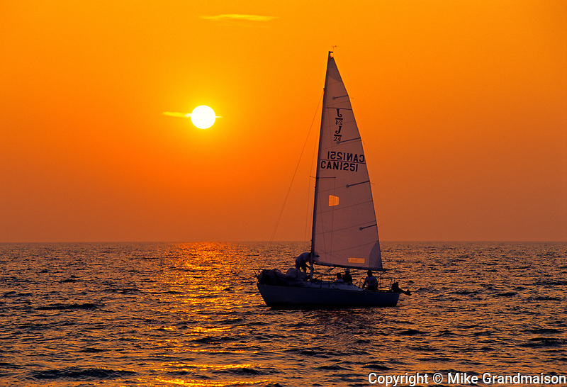 Sailing on Lake Ontario at sunset<br />Ste. Catharines<br />Ontario<br />Canada