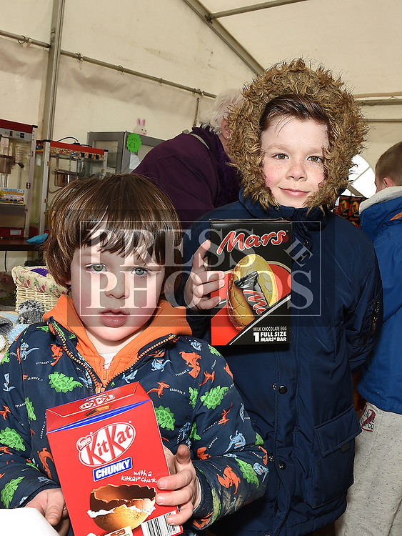 Kealan Kearns and Elliott Patchill at the Easter Egg Hunt at the Millitary and War Museum at Collon. Photo:Colin Bell/pressphotos.ie