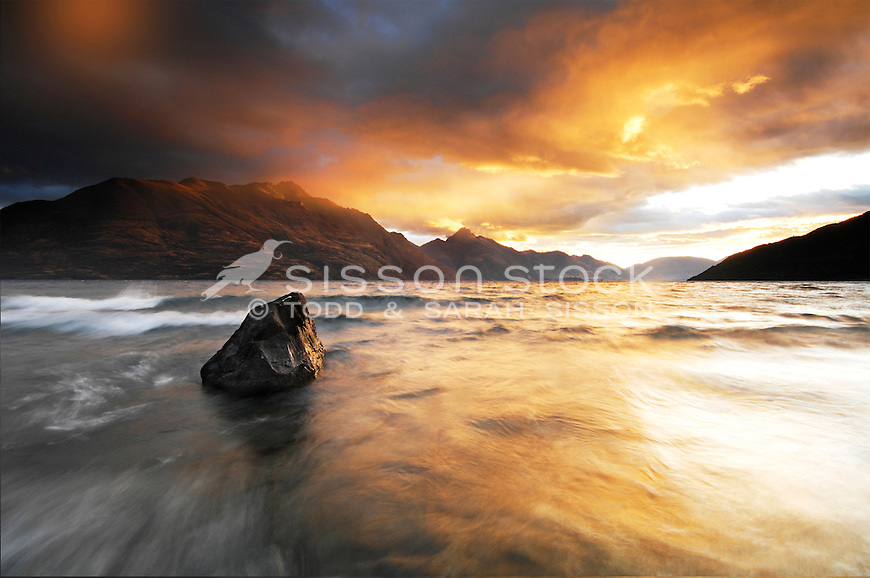 Lake Wakatipu sunrise looking toward Walter and Cecil Peaks, Queenstown, South Island