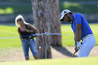 Adrian Otaegui (ESP) chips onto the 3rd green during Saturday's Round 3 of the 2018 Turkish Airlines Open hosted by Regnum Carya Golf &amp; Spa Resort, Antalya, Turkey. 3rd November 2018.<br /> Picture: Eoin Clarke | Golffile<br /> <br /> <br /> All photos usage must carry mandatory copyright credit (&copy; Golffile | Eoin Clarke)