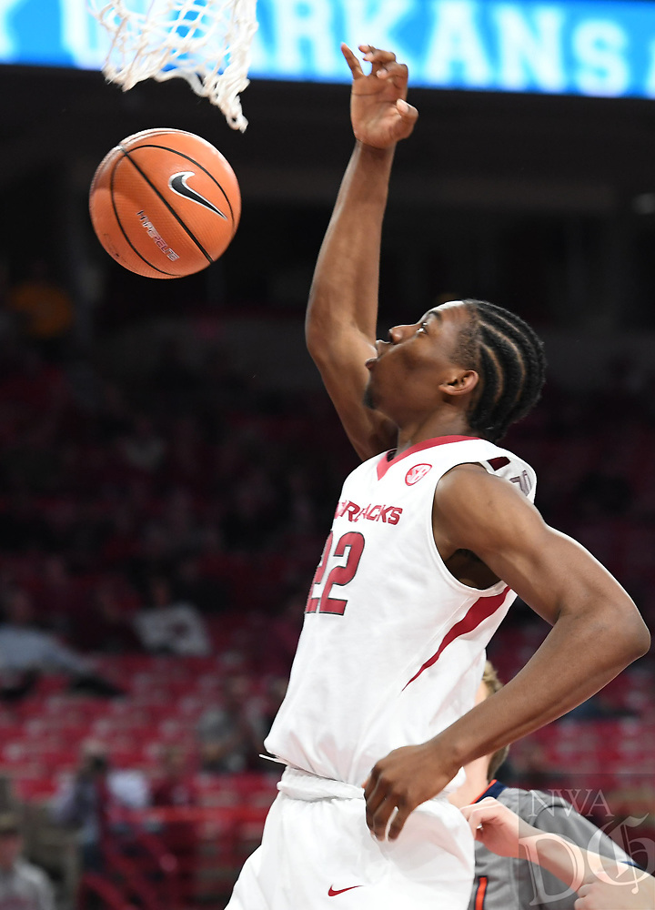 NWA Democrat-Gazette/J.T. WAMPLER Arkansas' Gabe Osabuohien dunks against Bucknell Sunday Nov. 12, 2017 at Bud Walton Arena in Fayetteville. Arkansas won 101-73 and takes on Fresno State Friday at home.
