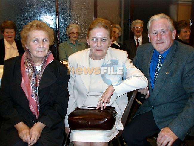 At Fr. Donnelly's farewell party were Maureen Lawless, Termonfeckin,  Bridget devine, Blackhall and Ambrose Morgan, Yellow Gap.  .Pic Paul Mohan Newsfile