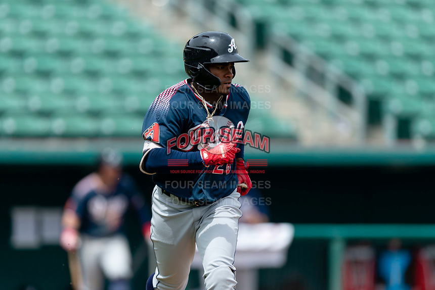 Reno Aces shortstop Domingo Leyba (26) jogs towards first base after hitting an RBI-single during a game against the Fresno Grizzlies at Chukchansi Park on April 8, 2019 in Fresno, California. Fresno defeated Reno 7-6. (Zachary Lucy/Four Seam Images)