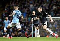 Burnley's Chris Wood looks to close down Manchester City's Nicolas Otamendi<br /> <br /> Photographer Rich Linley/CameraSport<br /> <br /> Emirates FA Cup Fourth Round - Manchester City v Burnley - Saturday 26th January 2019 - The Etihad - Manchester<br />  <br /> World Copyright © 2019 CameraSport. All rights reserved. 43 Linden Ave. Countesthorpe. Leicester. England. LE8 5PG - Tel: +44 (0) 116 277 4147 - admin@camerasport.com - www.camerasport.com