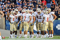 Sept. 19, 2009; Provo, UT, USA; Florida State Seminoles quarterback (7) Christian Ponder in the huddle with teammates against the BYU Cougars at LaVell Edwards Stadium. Florida State defeated BYU 54-28. Mandatory Credit: Mark J. Rebilas-