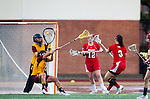 Los Angeles, CA 02/28/14 - Liz Shaeffer (USC #11), Courtney Tarleton (USC #1) and Allison Gionta (Marist #3) in action during the Marist Red Foxes vs University of Southern California Trojans NCAA Women's lacrosse game at Loker Track Stadium on the USC Campus.  Marist defeated USC 12-10.