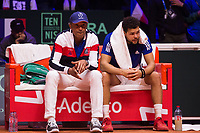 Le joueur de tennis français Jo-Wilfried Tsonga opposé au joueur Croate Marin Cilic lors de la  Finale de la Coupe Davis France vs Croatie, au Stade Pierre Mauroy à Villeneuve d'Ascq . Match gagné par l'équipe de Croatie.<br /> France, Villeneuve d'Ascq , 23 novembre 2018.<br /> French tennis player Jo-Wilfried Tsonga vs Croatian tennis player Marin Cilic during the final of the Davis Cup, at the Pierre Mauroy stadium in Villeneuve d'Ascq .<br /> Match won by Croatian team.<br /> France, Villeneuve d'Ascq , 23 November 2018<br /> Pic : Yannick Noah & Jo-Wilfried Tsonga