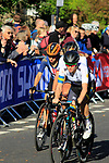 The peloton on the first circuit of Harrogate during the Women Elite Road Race of the UCI World Championships 2019 running 149.4km from Bradford to Harrogate, England. 28th September 2019.<br /> Picture: Andy Brady | Cyclefile<br /> <br /> All photos usage must carry mandatory copyright credit (© Cyclefile | Andy Brady)