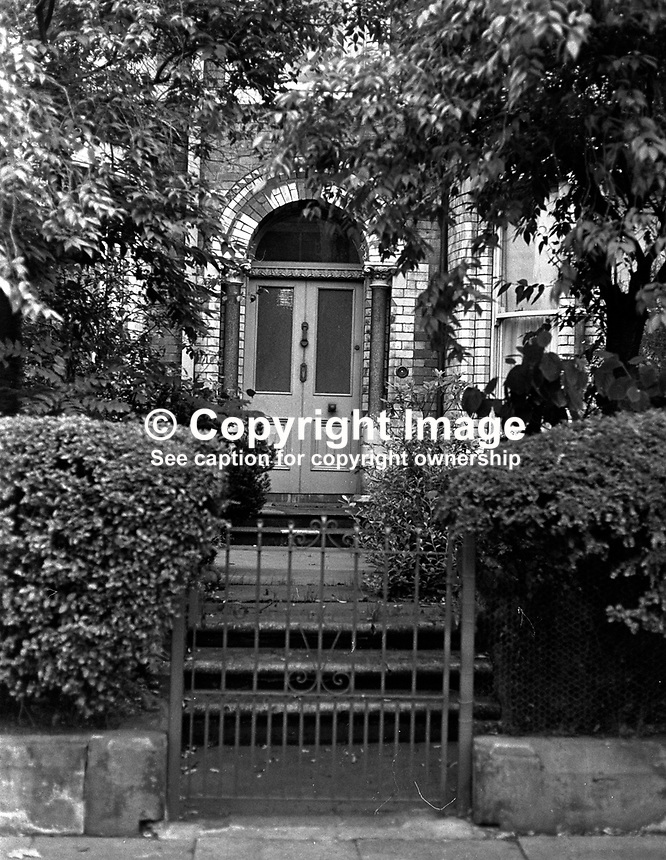 Belgravia Hotel, Belfast, N Ireland, UK. The hotel was created from a block of elegant terrace houses in the suburbs of South Belfast.  Outwardly they retained the appearance of individual homes. 197308220561a..Copyright Image from Victor Patterson, 54 Dorchester Park, Belfast, UK, BT9 6RJ..Tel: +44 28 9066 1296.Mob: +44 7802 353836.Voicemail +44 20 8816 7153.Skype: victorpattersonbelfast.Email: victorpatterson@mac.com.Email: victorpatterson@ireland.com (back-up)..IMPORTANT: If you wish to use this image or any other of my images please go to www.victorpatterson.com and click on the Terms & Conditions. Then contact me by email or phone with the reference number(s) of the image(s) concerned.