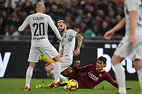 Marcelo Brozovic of Internazionale, Borja Valero of Internazionale and Patrik Schick of AS Roma compete for the ball during the Serie A 2018/2019 football match between AS Roma and FC Internazionale at stadio Olimpico, Roma, December, 2, 2018 <br />  Foto Andrea Staccioli / Insidefoto