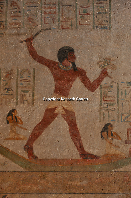 Zahi Hawass Secret Egypt Travel Guide; Egypt; archaeology; Middle Kingdom; Beni Hassan; Tombs; Tomb of Knumhotep III, hunting in marsh, birds