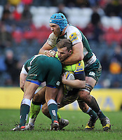 Will Addison of Sale Sharks is double-tackled. Aviva Premiership match, between Leicester Tigers and Sale Sharks on February 6, 2016 at Welford Road in Leicester, England. Photo by: Patrick Khachfe / JMP