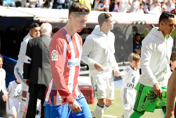 Real Madrid's Pepe and Keylor Navas and Atletico de Madrid's Fernando Torres during La Liga match between Real Madrid and Atletico de Madrid at Santiago Bernabeu Stadium in Madrid, April 08, 2017. Spain.<br /> (ALTERPHOTOS/BorjaB.Hojas)